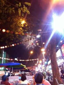 Watching fireworks for Hari Raya on first true night of freedom